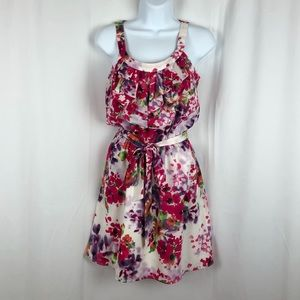 Express ruffle front floral mini dress Pockets XS